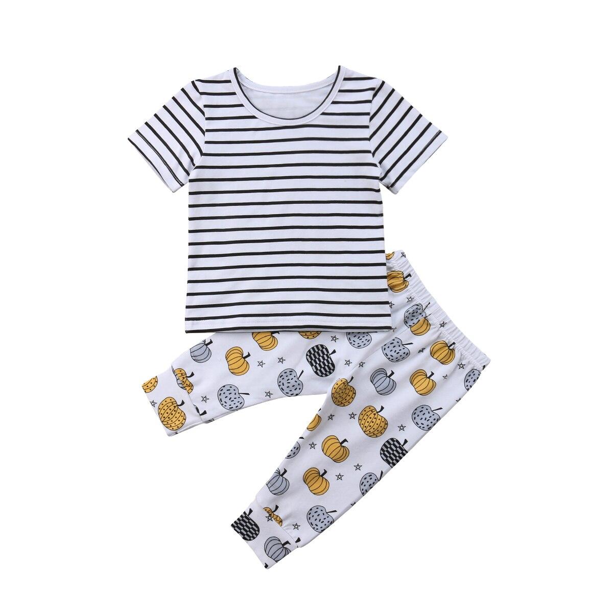 0-24 Mt Neugeborenen Baby Junge Mädchen Kurzarm Gestreiften T-shirt Tops + Kürbis Lange Hose Legging 2 Stücke Outfits Baby Kleidung Set Weich Und Rutschhemmend