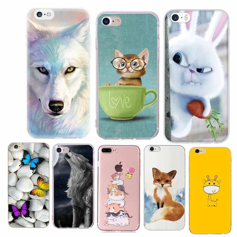 Silicone Case For iphone 7 8 Plus Case Iphone 6 6s Cover Wolf Cat Animal Soft Shell Cover For Apple iPhone X XS 5 5S SE Bags