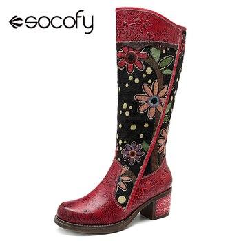 Socofy/Винтажные ковбойские сапоги в стиле пэчворк, женская обувь, богемная обувь из натуральной кожи, женские сапоги до середины икры, осенние...