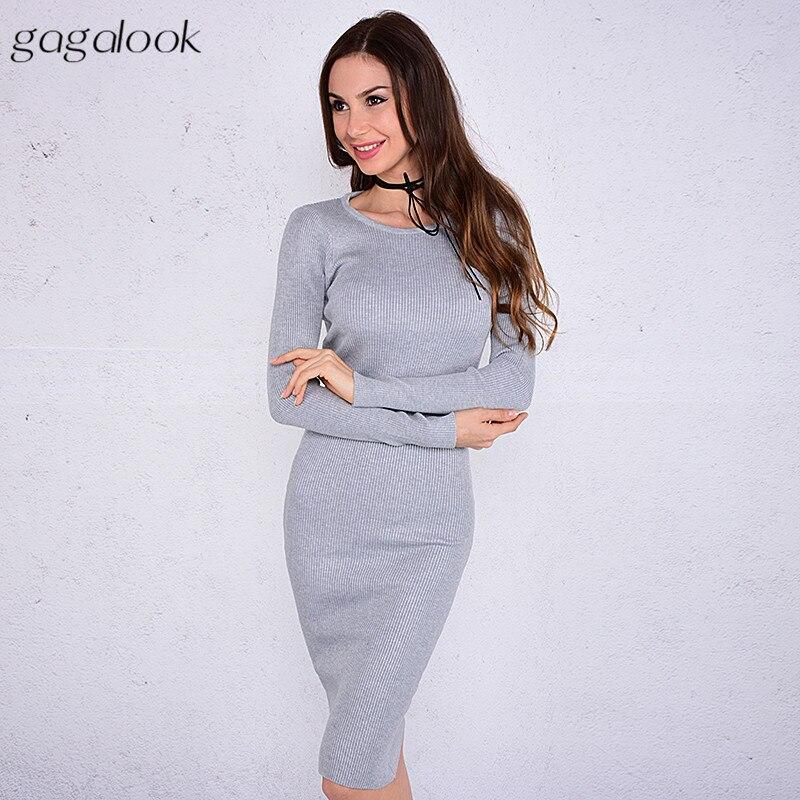 Gagalook зимнее вязаное платье Для женщин офисная стильная красные, черные в рубчик с круглым вырезом Midi Bodycon Платья-свитеры халат тянуть WM