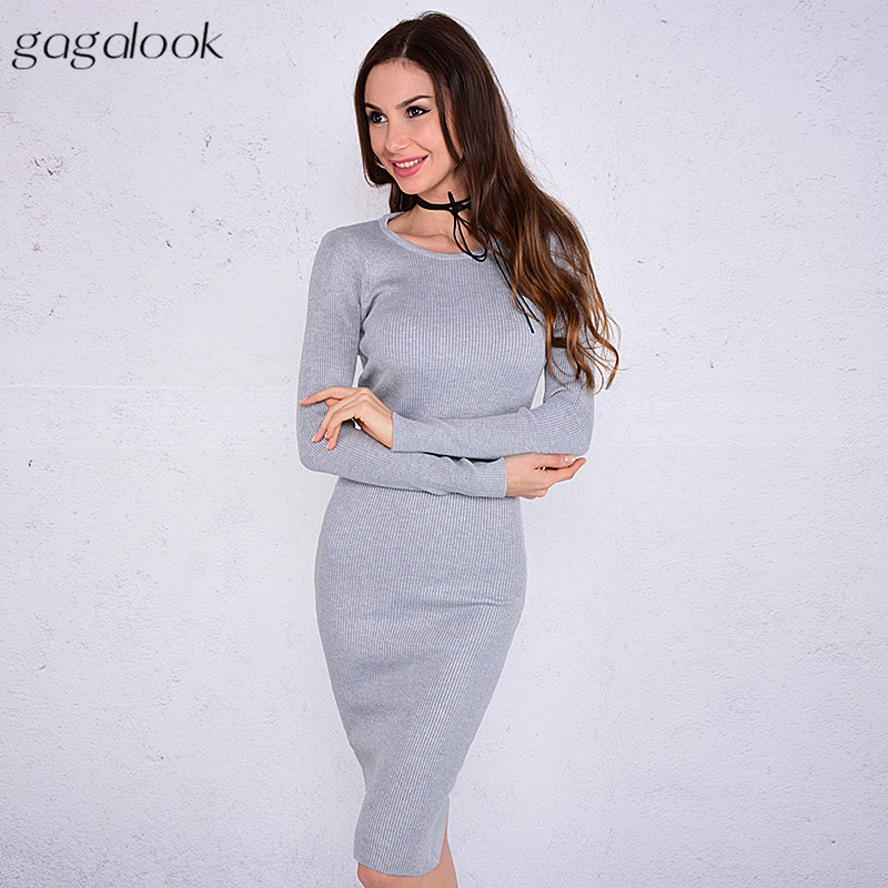gagalook Knitted Winter Dress Women Office Sexy Red Black Ribbed Round Neck Midi Bodycon Sweater Dress Robe Pull WM
