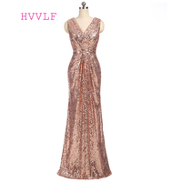 Champagne 2018 Cheap Bridesmaid Dresses Under 50 Mermaid Deep V Neck Floor Length Sequins Sparkle Wedding