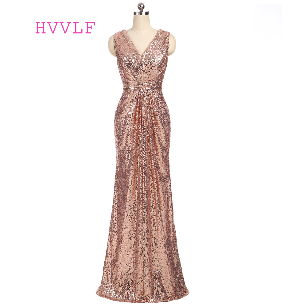 Champagne 2019 Cheap Bridesmaid Dresses Under 50 Mermaid Deep V-neck Floor Length Sequins Sparkle Wedding Party Dresses
