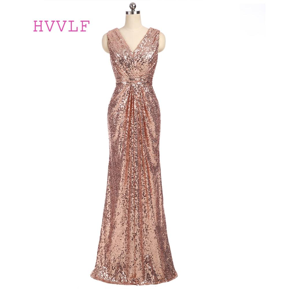 Champagne 2019 Cheap   Bridesmaid     Dresses   Under 50 Mermaid Deep V-neck Floor Length Sequins Sparkle Wedding Party   Dresses
