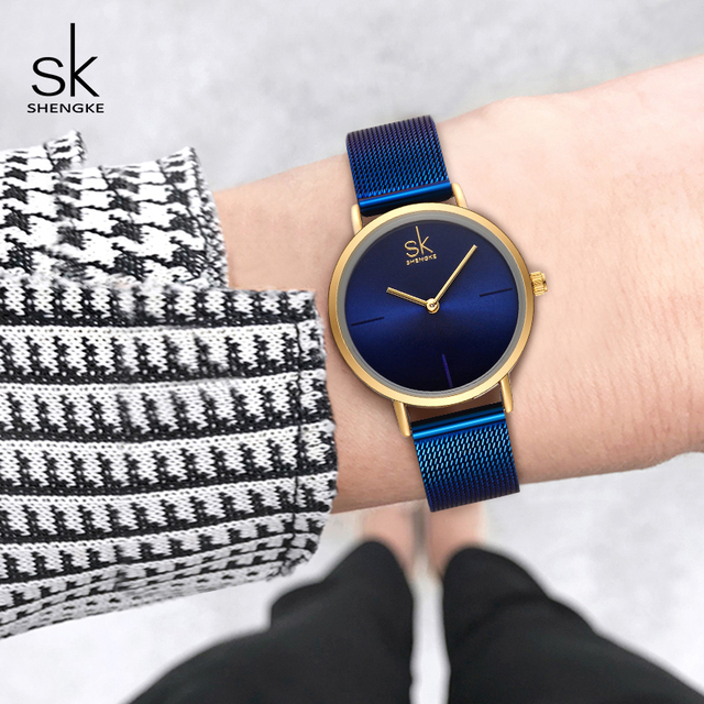 Shengke Wrist Watch Women Fashion Steel Quartz Watches Bracelet Clock Relogio Fe