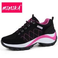 MINIKA 2018 New Women Sneakers Big Size Fashion Platform Sneakers Women Durable Rubber Outsole Breathable Women Flat Shoes 35 42
