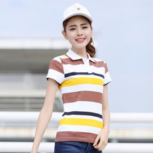 Polo shirt women Casual fashion common style compassionate emme Cotton Slim Striped Short Sleeve Lapel polo T001