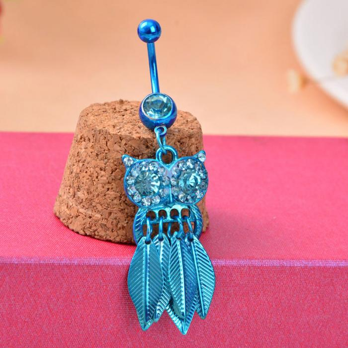 HTB1_wGTPpXXXXaQXVXXq6xXFXXXO Belly Button Piercing Jewelry Crystal Owl Dangle Belly Button Ring For Women - 4 Colors