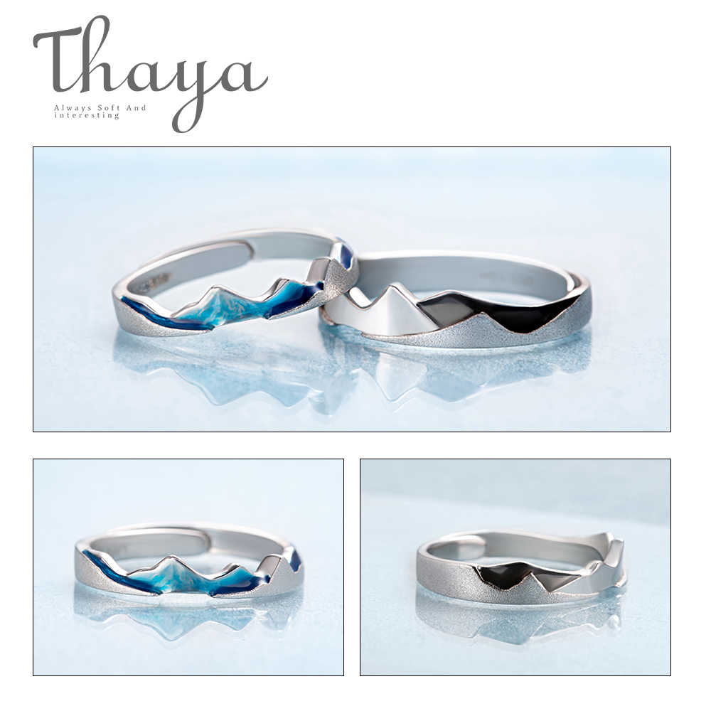 Thaya Coast to Coast Design แหวนเย็นฤดูร้อน S925 เงินสเตอร์ลิงเครื่องประดับคู่แหวนสำหรับงานแต่งงานของขวัญ