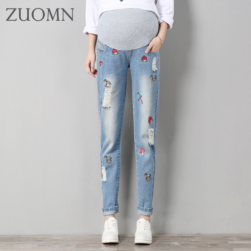 Pregnant Women Scratch Hole Jeans Maternity Scratch Hole Denim Maternity Pants Clothes Pregnant Women Pregnancy Trousers YL502 2017 new jeans women spring pants high waist thin slim elastic waist pencil pants fashion denim trousers 3 color plus size