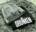 2016 Korean New Fashion DRUNKEN Letters Casual Wool Chapeu Beanies Autumn Winter Knited Caps Gorros Hats Bones For Men Women