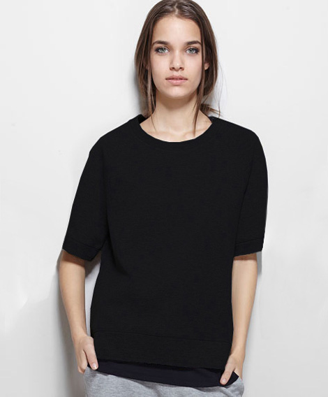 cbe454168 US $22.8 |free shipping New Hot fashion women cotton Black hoodie round  neck sleeve knitwear pullover-in Hoodies & Sweatshirts from Women's  Clothing ...