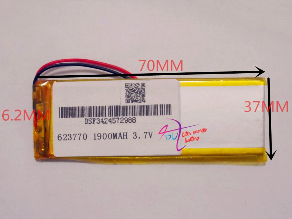 best battery brand Size 623770 3 7V 1900mah Lithium polymer Battery with Protection Board For MP4