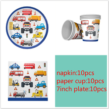 Engineer Car theme 10pcs Napkins+10pcs Cups+10pcs Plates for Kids Engineer Car Birthday Party decoration supplies 10pcs mn3005