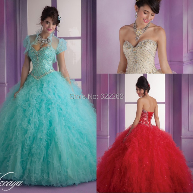 Fashionable Ball Gown Sweetheart Sweep Train Ruffles Organza Long ...
