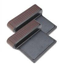 1Pair Brown PU Leather Storage Box Car Organizer Seat Gap Case Pocket Side