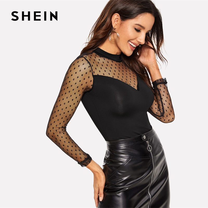 SHEIN Black Dot Mesh Sweetheart Keyhole Back Fitted Tee Slim Fit T Shirt Casual Long Sleeve Stand Collar Women Plain Tshirt Tops
