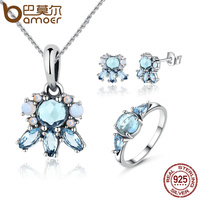 BAMOER Authentic 925 Sterling Silver Frost Moonlight Blue Sky Blue Crystal Jewelry Sets Sterling Silver Jewelry