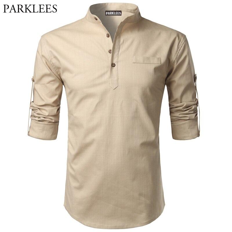 Cotton Linen Shirt Men 2017 Autumn Mens Shirt Roll UP Sleeve Slim Fit Male Shirts Camisa ...