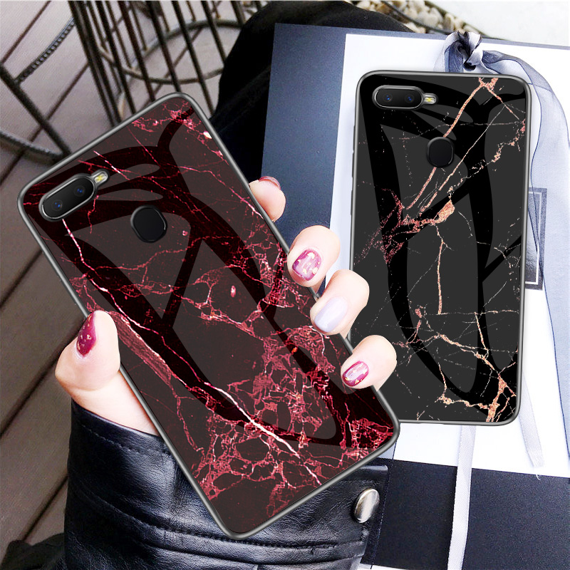 For OPPO F9 Case Luxury Marble Grain Hard Tempered Glass Protective Back Cover Case for oppo f9 full cover phone shell