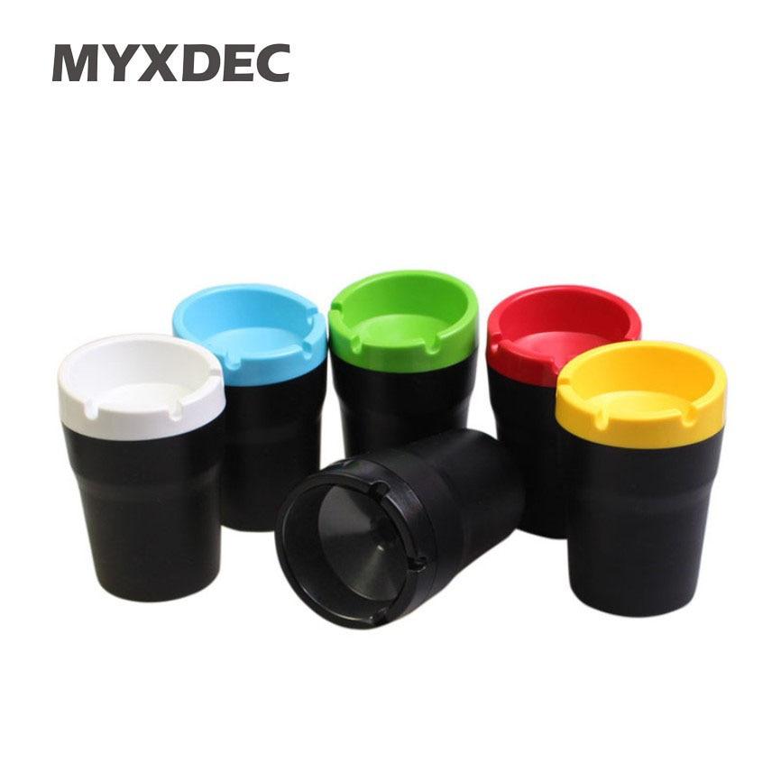 Colorful Portable Car Ashtray Cylinder Plastic Cigarette But