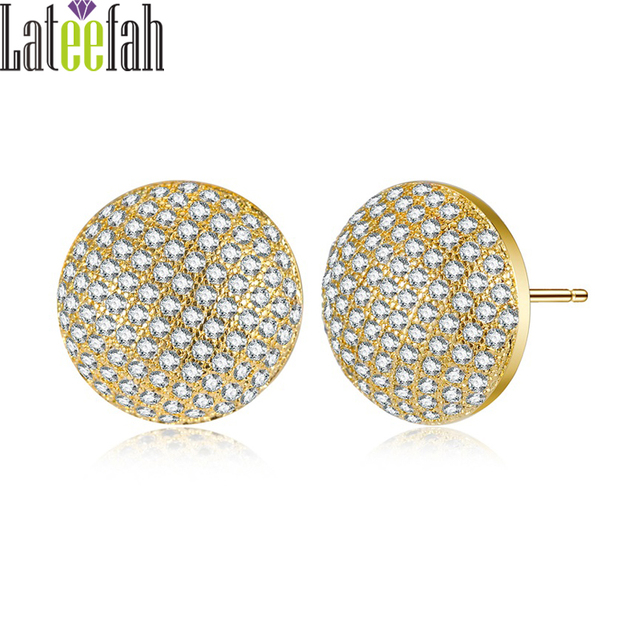 Lateefah Little Round Stud Earrings Fashion Jewelry For Etsy Gold Color Micro Pave Cubic Zirconia Elegant