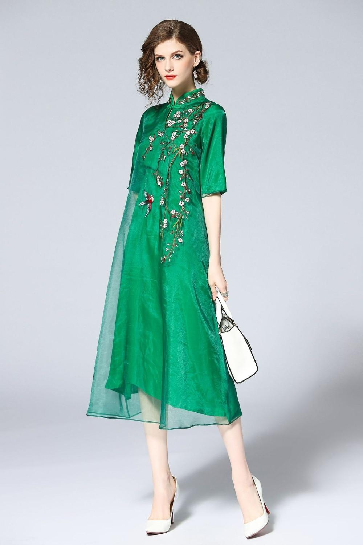 Chinese Style Embroidery Qipao Cheongsam Mesh Loose Dress