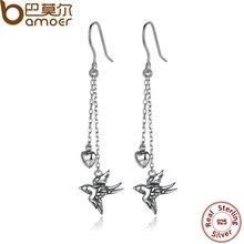 Bamoer joyería fina de plata de ley 925 pendientes de gota largos swallow pendientes pendientes de la joyería femenina accesorios sce005