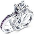 Vecalon Роскошные Ювелирные Изделия 3ct Аметист Cz алмаз Обручальное Обручальное Кольцо Набор для Женщин 10KT БЕЛОЕ Золото Заполненные Женский кольцо