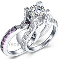 Vecalon Luxury Jewelry 3ct Amethyst Cz diamond  Engagement Wedding Band Ring Set for Women 10KT White Gold Filled Female ring