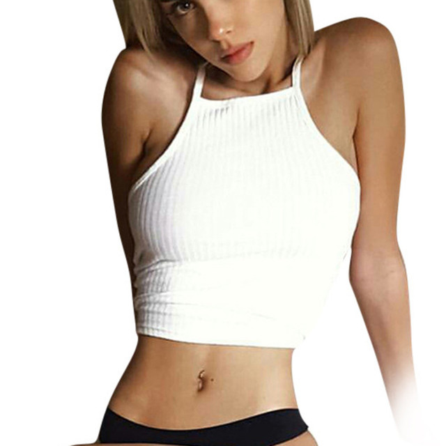 88d9214d10357 crop top Women Sleeveless summer bandage Tops Vest Backless Halter Tank Tops  high quality girl vest Camisole Femme