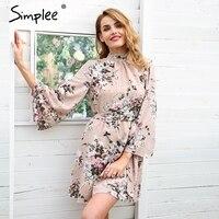 Simplee Backless Lace Up Flower Print Chiffon Dress Women Flare Sleeve Summer Dress Casual Beach Short