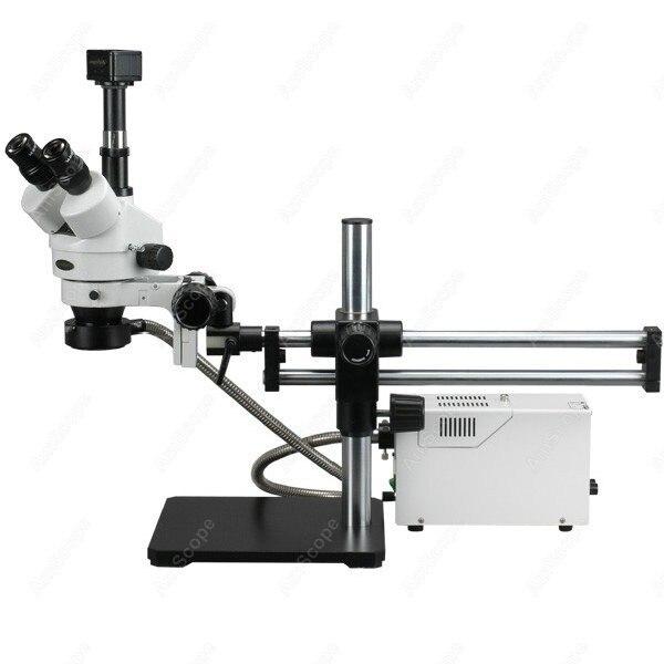 Trinoculaire Stéréo Microscope-AmScope Fournitures 3.5X-180X Fiber Optique Roulement À Billes Trinoculaire Stéréo Microscope avec 5MP Caméra