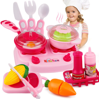 Hot 15pcs/set Kids Kitchen Play Toys Fruit Vegetable Cooking Pots Children Pans Dishes Food Cutting Play