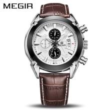 MEGIR Reloj de cuarzo Original para Hombre, cronógrafo de cuero, de negocios, militar deportivo, masculino, 2020