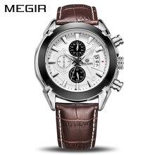 Megir original men relógio de quartzo reloj hombre couro relógios de negócios homem relógio cronógrafo exército militar esporte masculino 2020