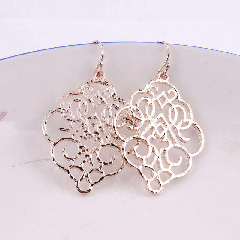 ZWPON New Gold Filigree Morocco Dangle Earrings for Women Fashion Jewelry Zinc Alloy Basic Statement Earrings Wholesale 2018