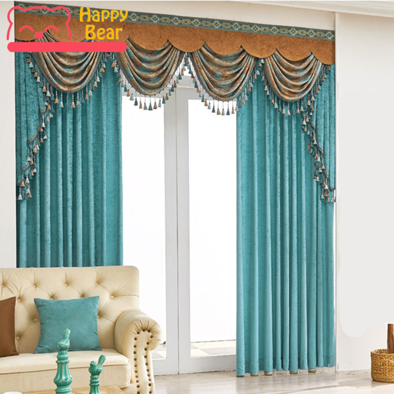 High Window Curtains: Flat Window Blackout Curtain High Quality Double Layer