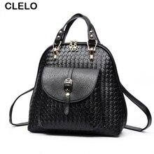Clelo рюкзак женщины с высокого качества PU Вязание элегантный дизайн Школьные ранцы для девочки сумка Дорожные сумки