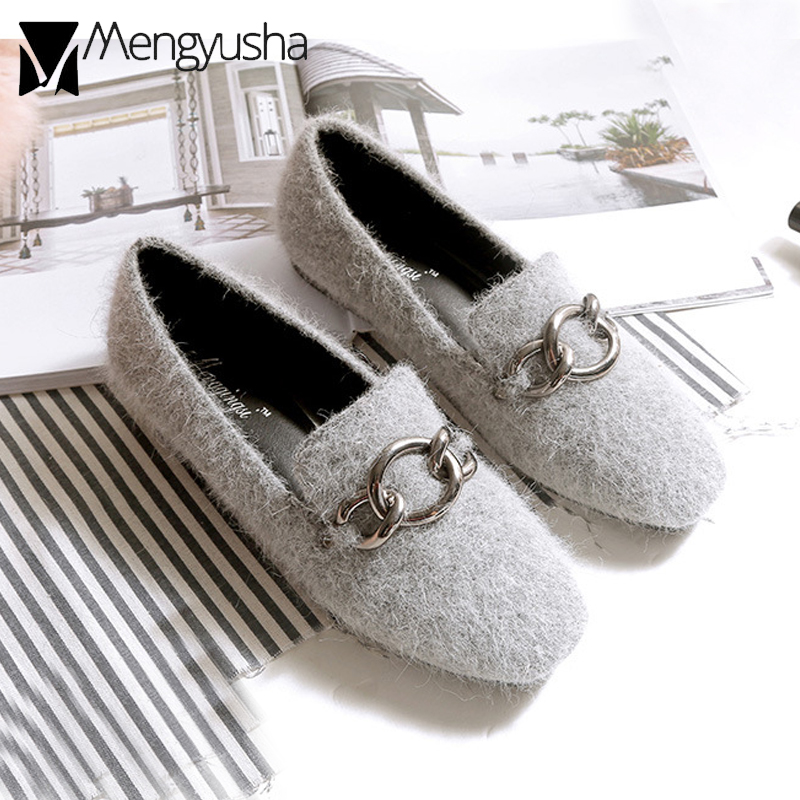 ac634e2982f Black black Plush Mujeres Alpargatas Zapatos gray Plush red gray Cuadrada  Cálido Decorar Invierno Plush Mocasines ...