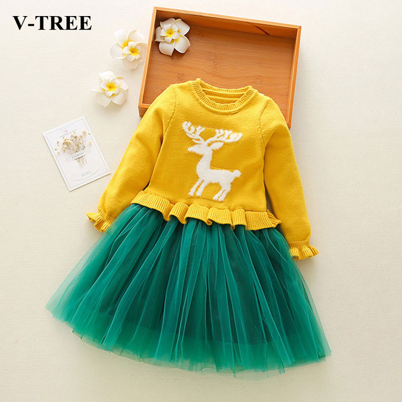Winter Girls Dress Sweater Dresses For Girl Christmas Kids Princess Dress Tulle Dress For Toddler Baby Costume Clothing цена и фото