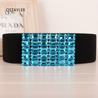 6Cm Wide Waist Belts For Women Turquoise Rhinestone Waistband Cummerbund Fashion Female Elastic Corset Dress Belts