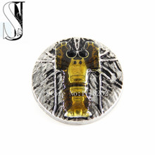 Gingersnaps Gold Yellow18mm Shrimp lobster Metal Snap Button Charm Interchangeable Jewelry SB1564