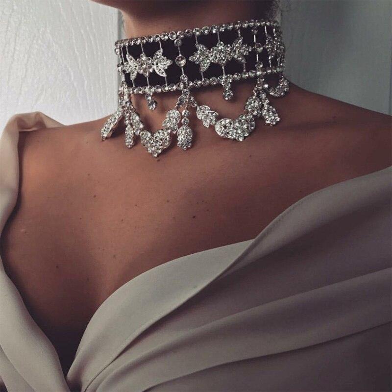 Collar de declaración de lujo de encaje 2017 gargantilla de diamantes de imitación grande collar de cristal de cinta collar de joyería de mujer