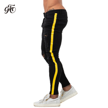 Skinny Jeans Men Yellow Stripe Mens Biker Denim Super Spray on Factory Direct Supply Dropshipping Big Size zm68