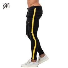 Skinny Jeans Men Yellow Stripe Mens Biker Denim Super Spray on Factory Direct Supply Dropshipping Big Size zm68