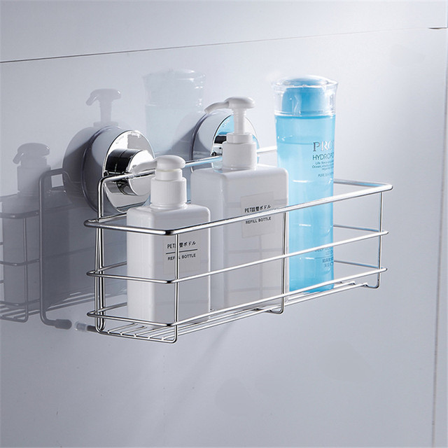 Stainless Steel Suction Cups Bath Shelves Wall Towel Washing Shower Basket Bar Shelf With Hooks Bathroom