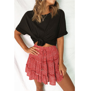 Image 2 - Lossky חצאית נשים פרחוני הדפסה לפרוע שרוכים Pleate מיני חצאית Boho צ י גבוהה מותן קצר קיץ חוף עץ אוזן חצאית נקבה