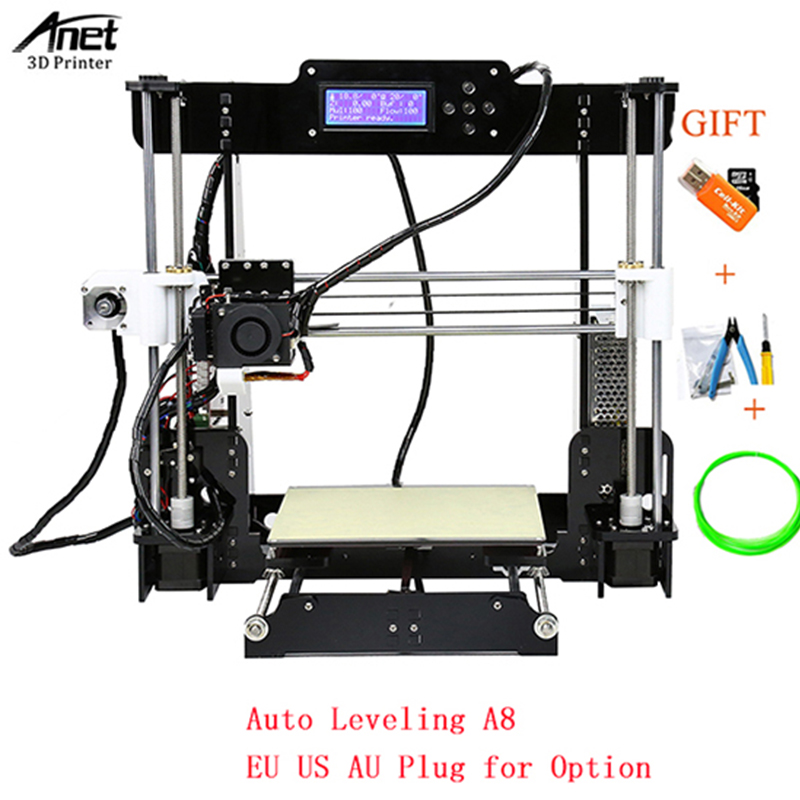 Anet A8 3D Printer Kits Reprap i3 Kit DIY 3D Printing Machine Auto Level A8/Normal A8 3d Printer with SD Card Filament Tools shuangye a8 36v