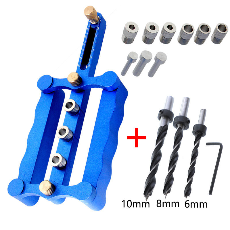 цена на 6mm 8mm 10mm Self Centering Dowelling Jig Set Metric Dowel Drilling Hand Tools Set Power Woodworking Tool with DRILL BIT